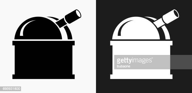 Observatory Icon on Black and White Vector Backgrounds
