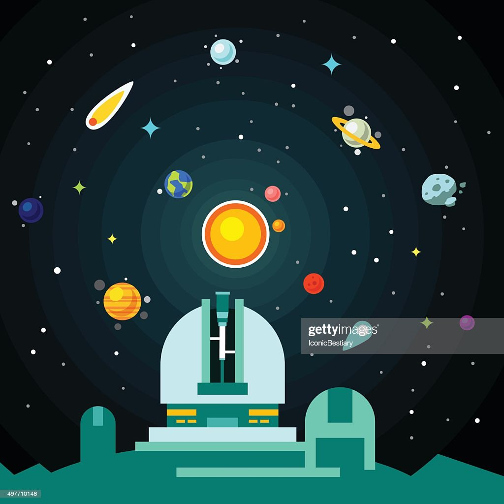 Observatory station, solar system with planets