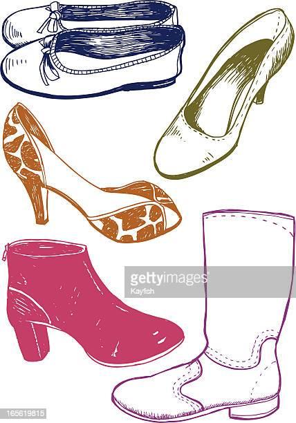 ilustraciones, imágenes clip art, dibujos animados e iconos de stock de obsesionado con zapatos - zapatilla de ballet