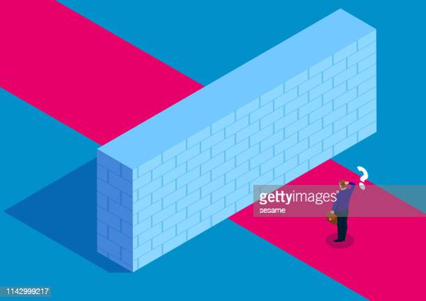 obstacle - surrounding wall stock illustrations