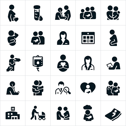 Obstetrician and Pregnancy Icons - gettyimageskorea