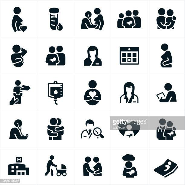 obstetrician and pregnancy icons - childbirth stock illustrations