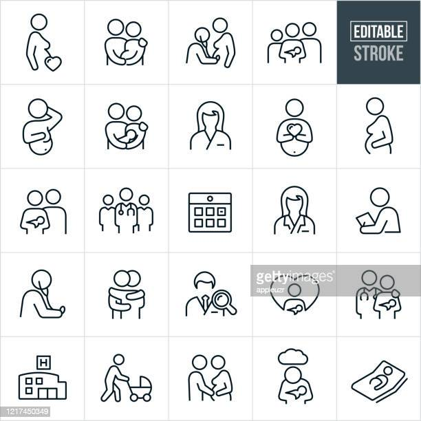 obstetrician and pregnancy thin line icons - editable stroke - parent stock illustrations