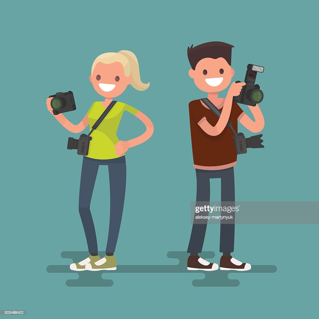 Occupation photographer. Man and woman with cameras