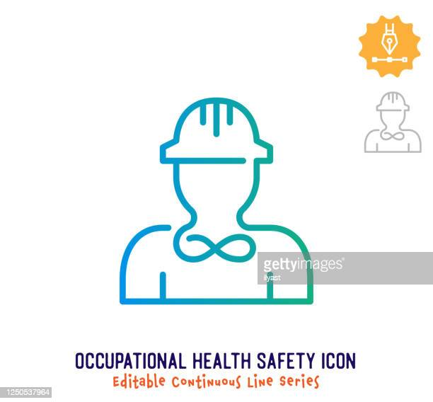occupational health safety continuous line editable icon - umschulung stock-grafiken, -clipart, -cartoons und -symbole