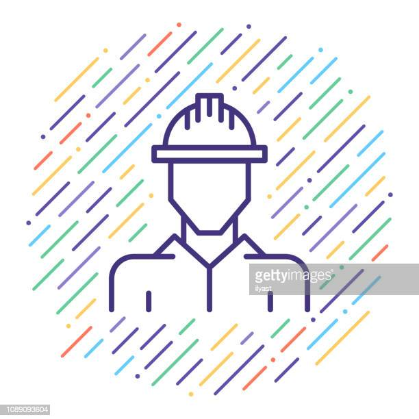 occupational health & safety vector line icon illustration - occupational health stock illustrations, clip art, cartoons, & icons