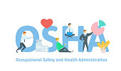 OSHA, Occupational Safety and Health Administration. Concept table with people, letters and icons. Flat vector illustration on white background.