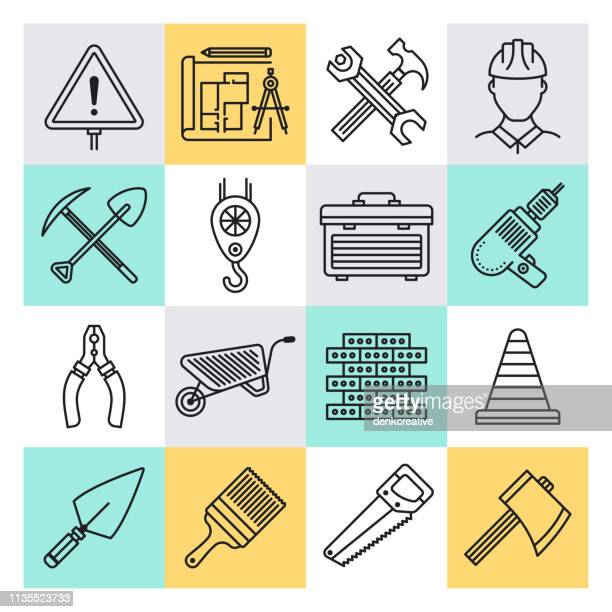 occupational safety & health outline style vector icon set - occupational health stock illustrations, clip art, cartoons, & icons