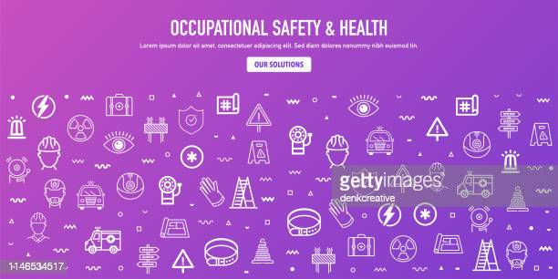 occupational safety & health outline style web banner design - occupational health stock illustrations, clip art, cartoons, & icons