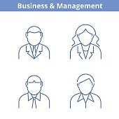 Occupations avatar set: businessman, businesswoman, consultant, manager. Thin outline icons.