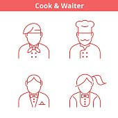 Occupations avatar set: cook, chef, waiter, baker. Thin outline icons.