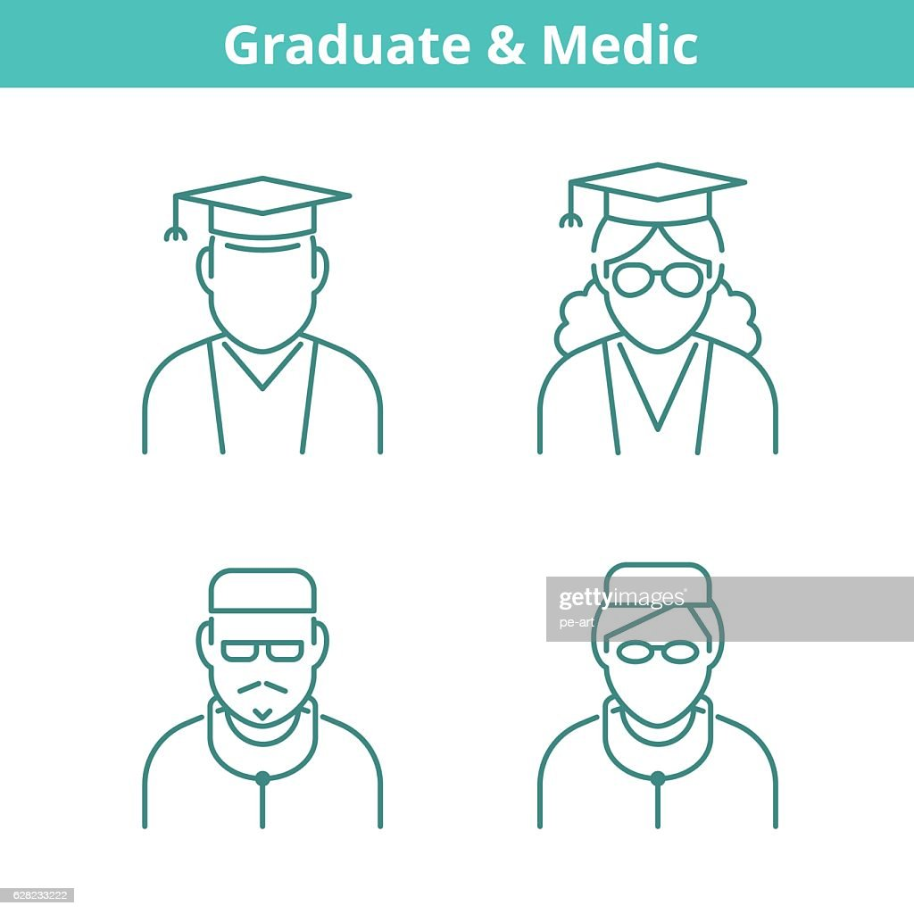 Occupations avatar set: doctor, medic, graduate, student. Thin outline icons.