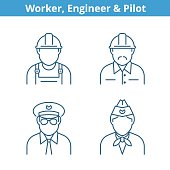 Occupations avatar set: pilot, stewardess, engineer, worker. Thin outline icons.