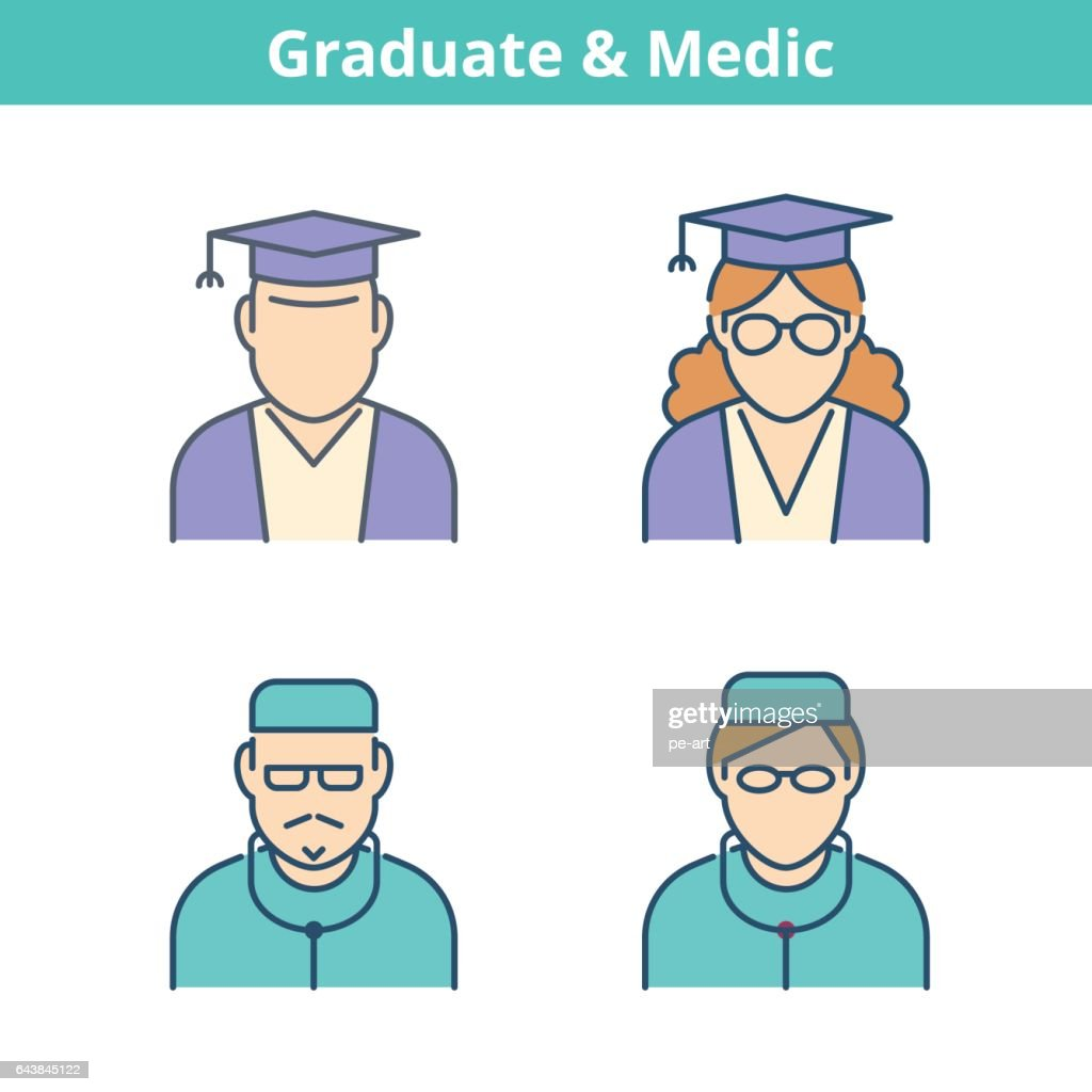 Occupations colorful avatar set: doctor, medic, graduate. Thin outline icons.