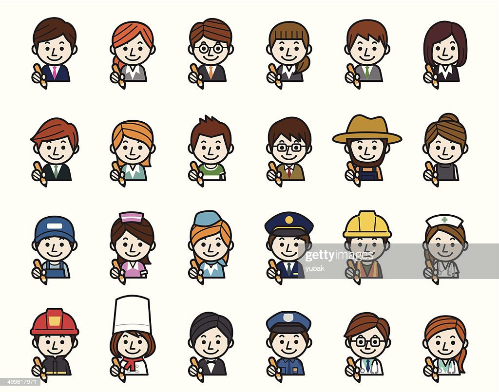 Occupations Icons - Pencil : Stock Illustration
