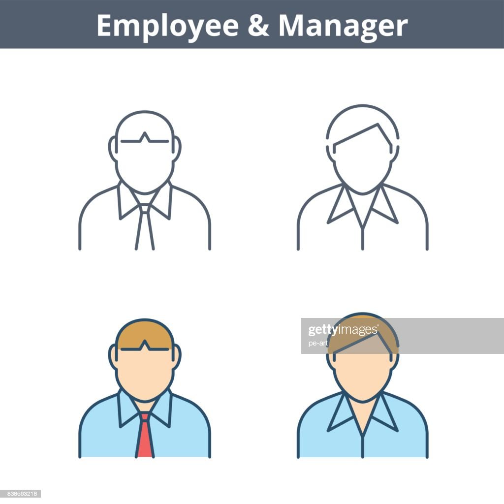 Occupations linear avatar set: clerk, employee, manager. Thin outline icons.