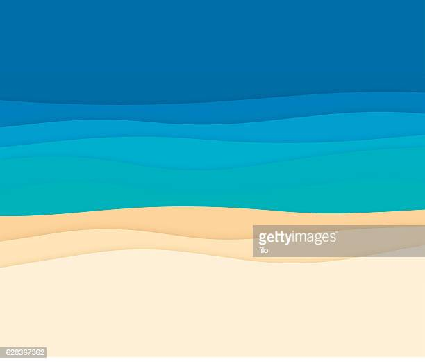 ilustraciones, imágenes clip art, dibujos animados e iconos de stock de ocean abstract background waves - curva forma