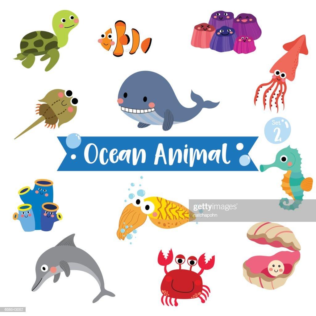 Ocean Animal cartoon on white background. Vector illustration. Set 2