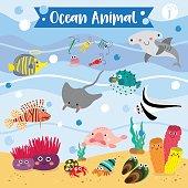 Ocean Animal cartoon. Vector illustration. Set 1