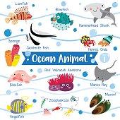 Ocean Animal cartoon with animal name vector illustration. Set 1