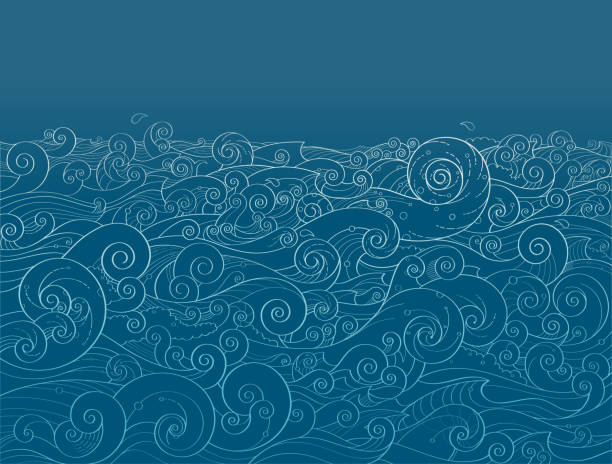 ocean background - swirl stock illustrations
