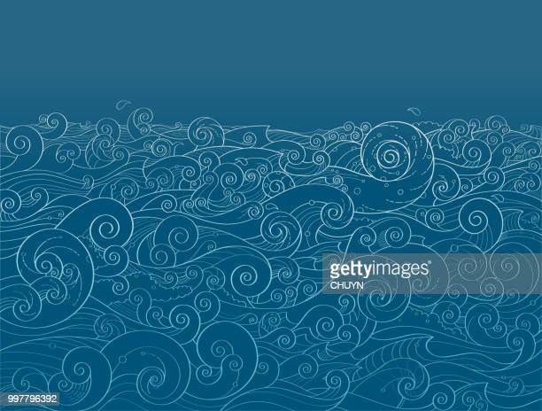illustrazioni stock, clip art, cartoni animati e icone di tendenza di ocean background - vento
