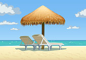 Ocean beach with umbrella and bed vector