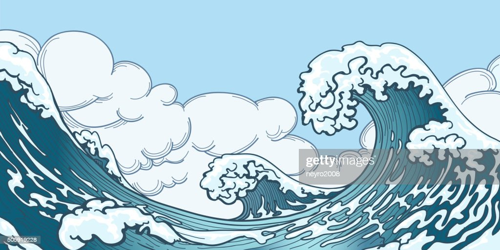 Ocean big wave in Japanese style