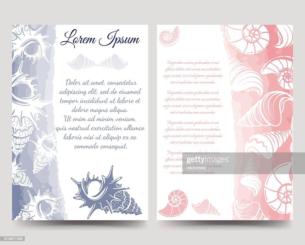 Ocean brochure template with sea shells