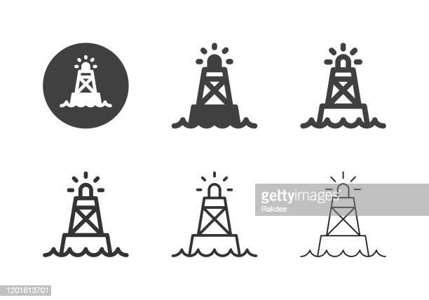 ocean buoy icons - multi series - floating on water stock illustrations