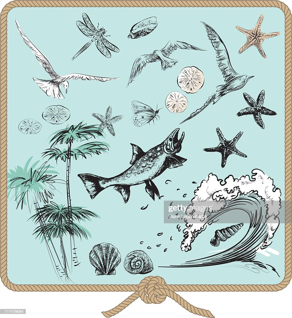 Ocean Elements Set with Animals,Palms and Waves on Green