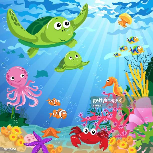 illustrations, cliparts, dessins animés et icônes de vie marine sous la mer - crabe