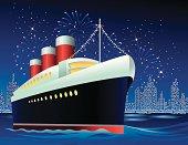 Ocean liner in harbor