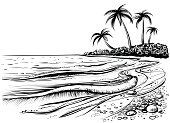 Ocean or sea beach with waves and palms, drawing.
