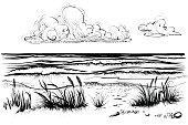 Ocean or sea beach with waves, sketch.