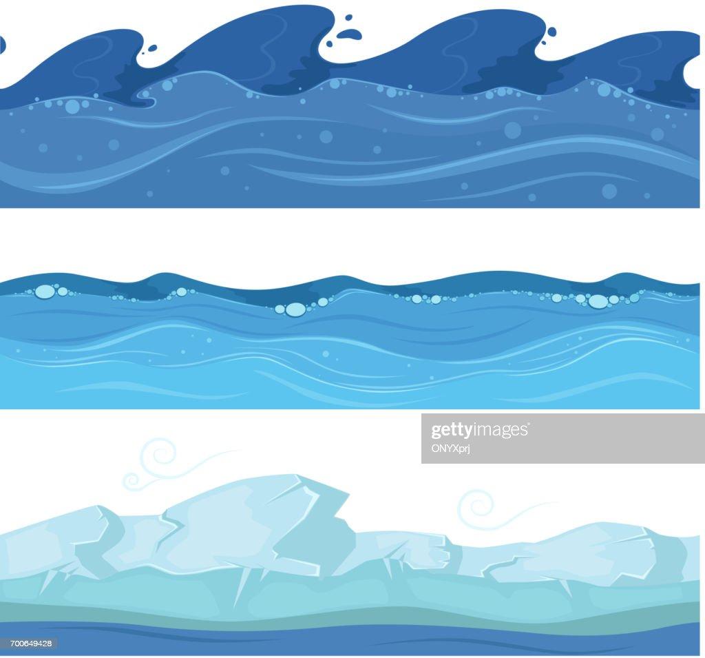 Ocean or sea water waves. Vector set of horisontal seamless patterns for ui games