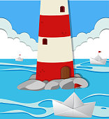 Ocean scene with lighthouse and paper boats