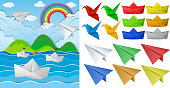 Ocean scne and paper origami in different objects