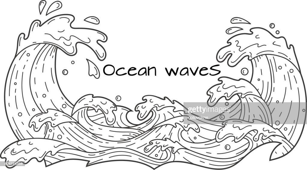 Ocean waves, outline vector illustration