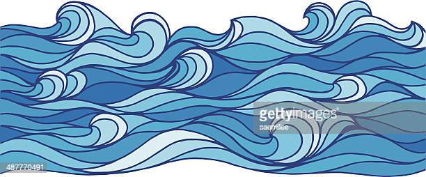 ocean waves - wave pattern stock illustrations, clip art, cartoons, & icons