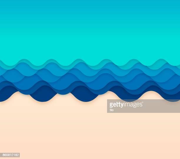 ocean waves - beach holiday stock illustrations, clip art, cartoons, & icons