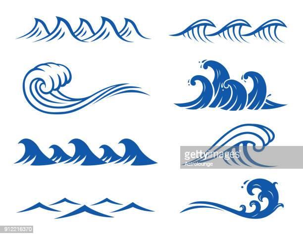ocean waves - wave stock illustrations