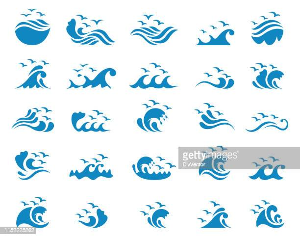 ocean with seagulls icon set - seagull stock illustrations
