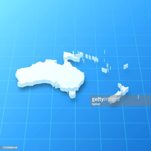 oceania 3d map on blue background - french overseas territory stock illustrations