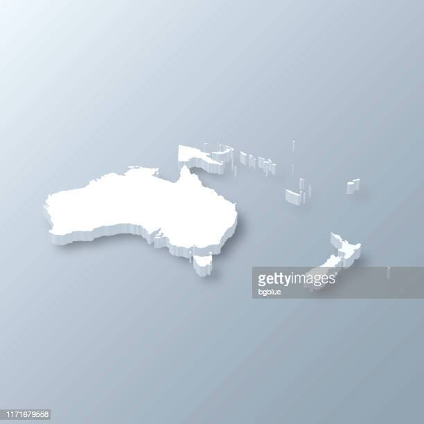 oceania 3d map on gray background - vanuatu stock illustrations