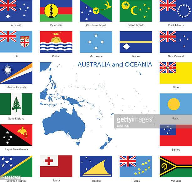Oceania - Flags and Map - Illustration