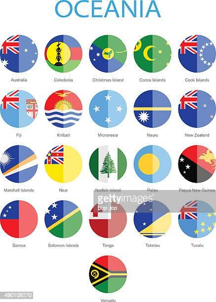 Océanie-à drapeaux ronds-Illustration