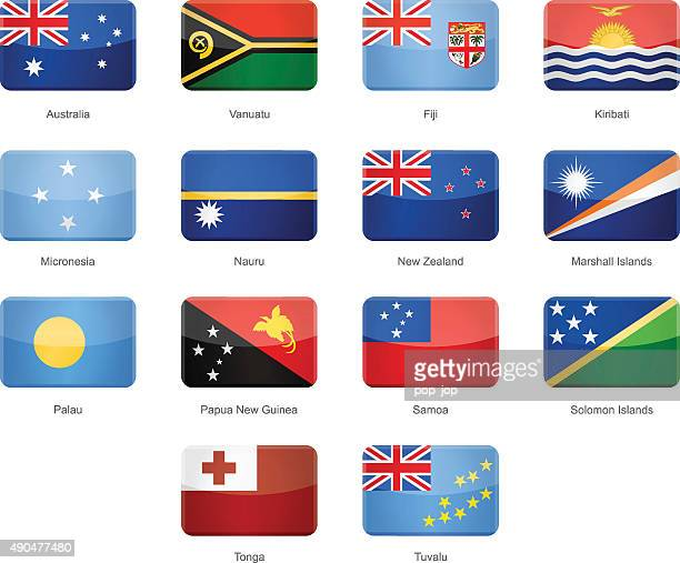 oceania - glossy rectangle flags - illustration - cocos island costa rica stock illustrations, clip art, cartoons, & icons