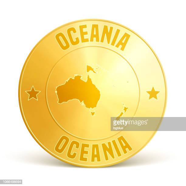 oceania - gold coin on white background - new caledonia stock illustrations