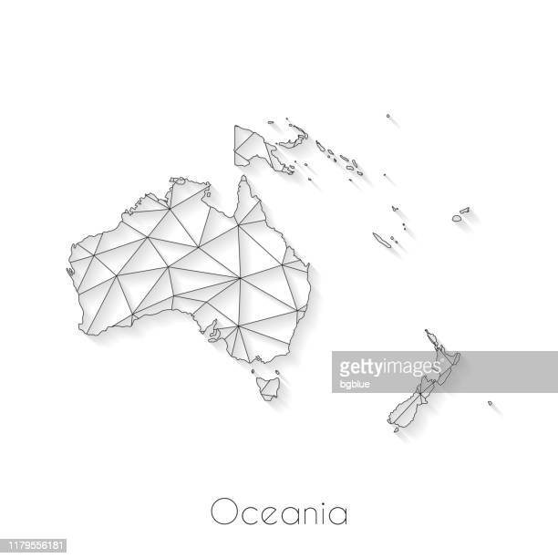 oceania map connection - network mesh on white background - french overseas territory stock illustrations